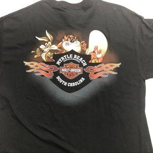 Harley Davidson USA Made Warner Bro's Tax Shirt Lg